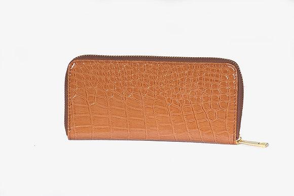 Croc Print Zipper Wallet