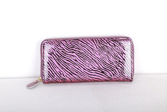 Shiny Pink Zebra Zipper Wallet