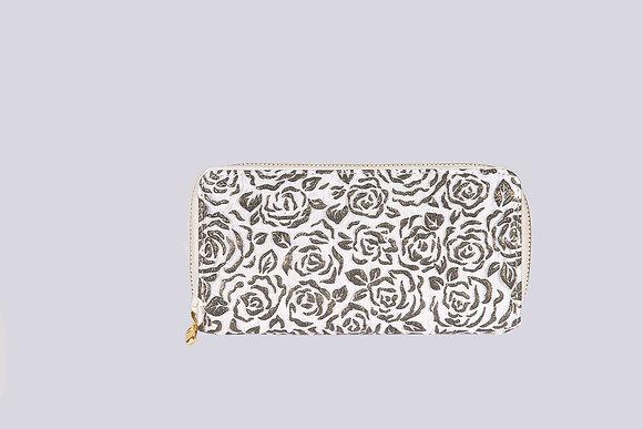 Metallic Roses Zipper Wallet