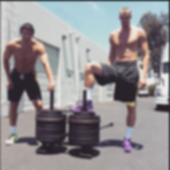 Prowler sled pushes for atlete conditioning