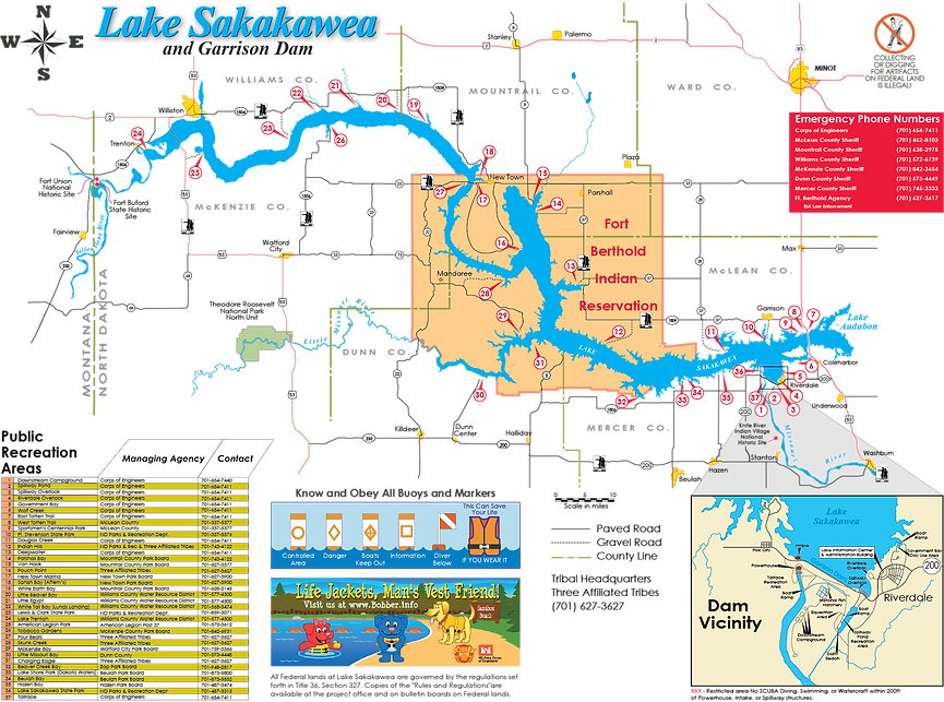 Map of Lake Sakakawea and lake access points for fishing