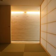 和室から塗り壁をみる