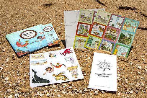 Kit Mar de Soluções: livro + cartela de adesivos + jogo da memória