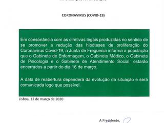 INFORMAÇÃO À POPULAÇÃO COVID-19 ENCERRAMENTO DE ALGUNS SERVIÇOS A PARTIR DE DIA 16 DE MARÇO.