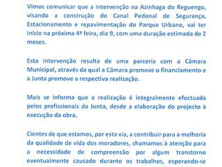 Requalificação Azinhaga  do Reguengo (Intervenção financiada pela Câmara Municipal de Lisboa, execut