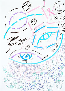 "Layne's art sketch with colorful lines of in shades of blue, teal, purple, pink, and black. Cubes, eyes, spirals, and ampersands dance acros the page. She writes ""Thank you"" in the middle."