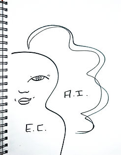 "A line art sketch that Layne Jackson Hubbard drew while at the National Head Start Association's annual Headtsarter conference. A figure of a child with the words""E.C."" for early childhood. A cloud behind the child with the words ""A.I."" for aritificial intelligence."