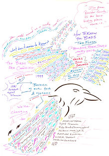 "Layne's art sketch of a talk on ""How to know the birds"" with the silhouette of a bird. Words from the talk are written into the shapes and forms of the wings, feathers, and clouds."