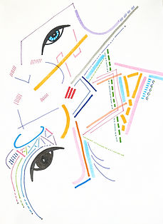 An art sketch of Layne's with different colored lines and dashes intersecting in shapes across the page. Two large eyes are arranged aysmmetrically.