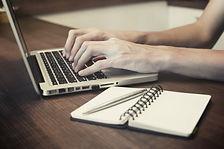 Parents online ordering laptop pc hands