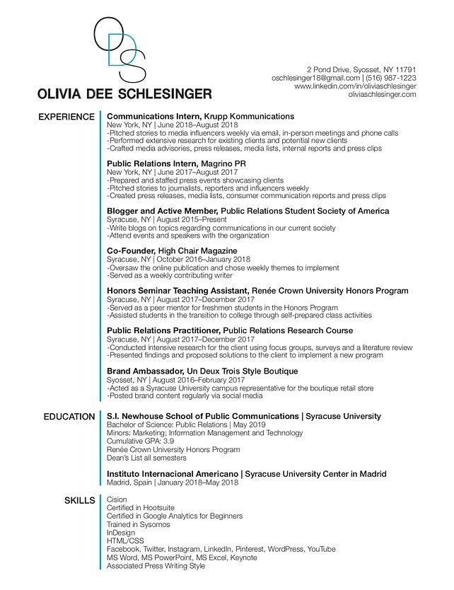 Olivia Schlesinger | Resume