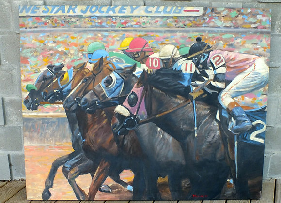 Horse Race Lone Star Jockey Club Original Art by McClure
