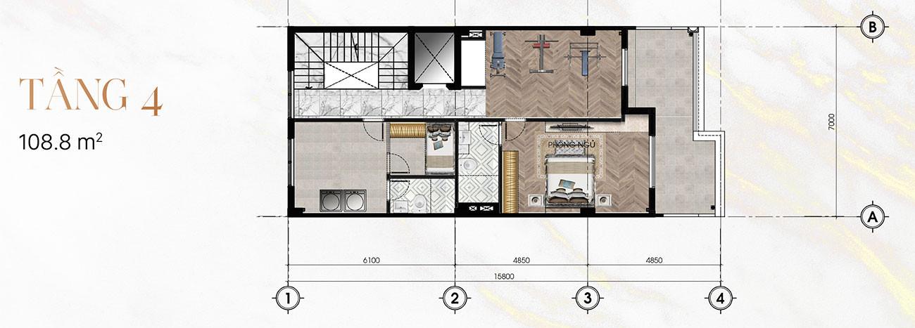 Tầng 4 Biệt Thự Sunlake (7m x 23m)