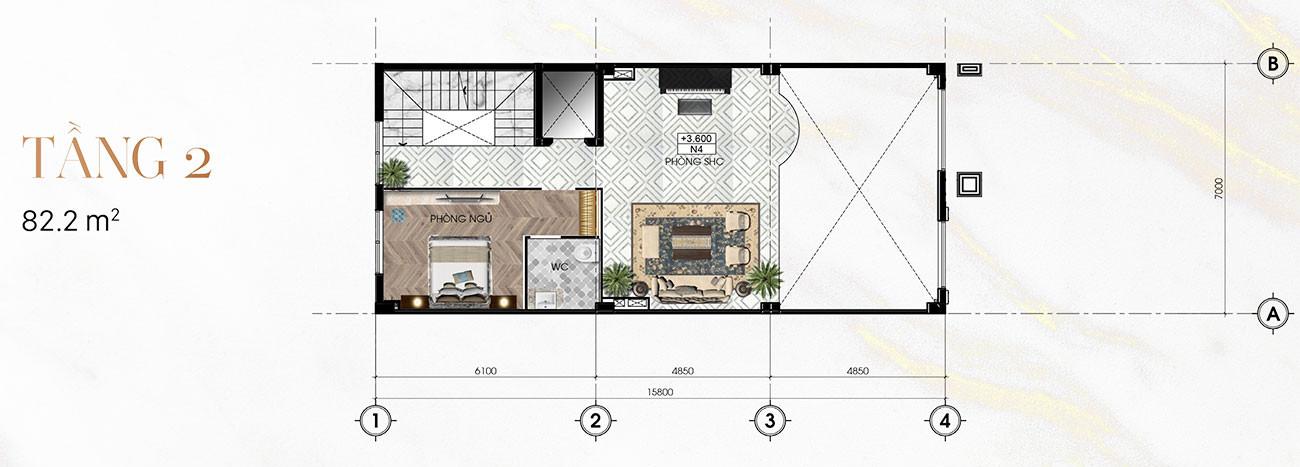 Tầng 2 Biệt Thự Sunlake (7m x 23m)