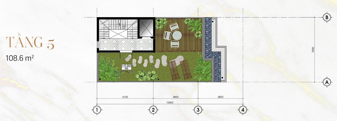 Tầng 5 Biệt Thự Sunlake (9m x 23m)