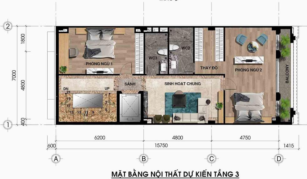 Bố trí mặt bằng tầng 3 SHOPHOUSE T5-21