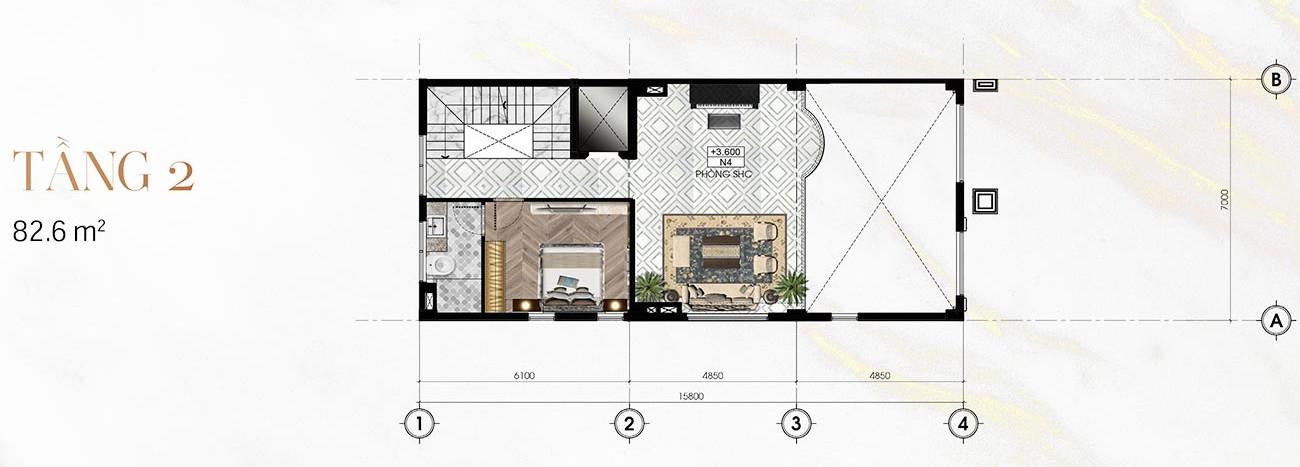 Tầng 2 Biệt Thự Sunlake (9m x 23m)