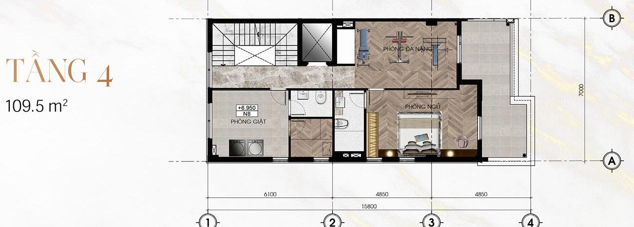 Tầng 4 Biệt Thự Sunlake (9m x 23m)