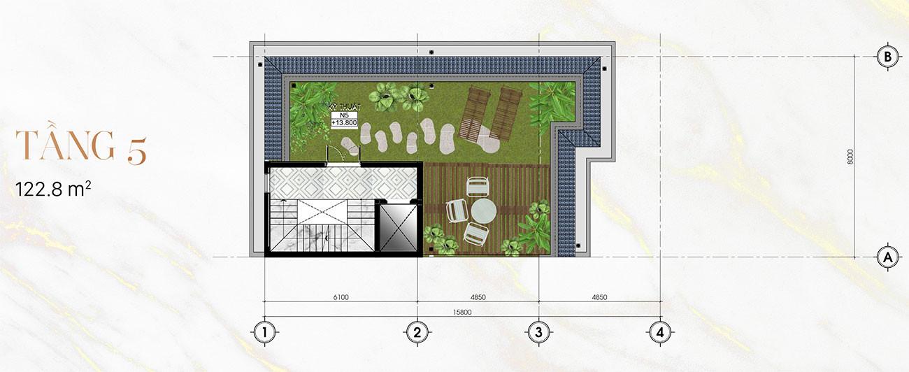 Tầng 5 Biệt Thự Sunlake Góc