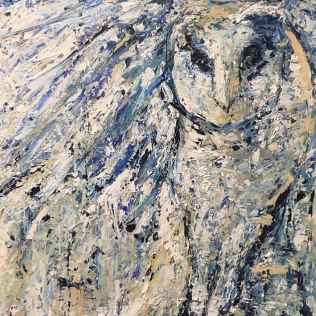 Búho, de la serie animales, 2018, acrílico sobre lienzo, 82 x 56 cm