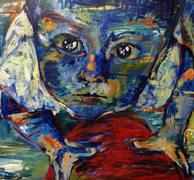 Arriba, 2014, acrílico sobre papel, 82 x 56 cm