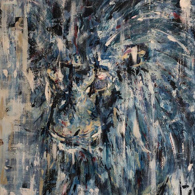 Blue, 2019, acrílico sobre lienzo, 130 x 90 cm,