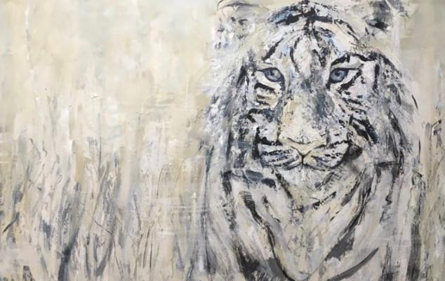 Los trueba, de la serie animales, 2018, acrílico sobre lienzo, 100 x 160 cm