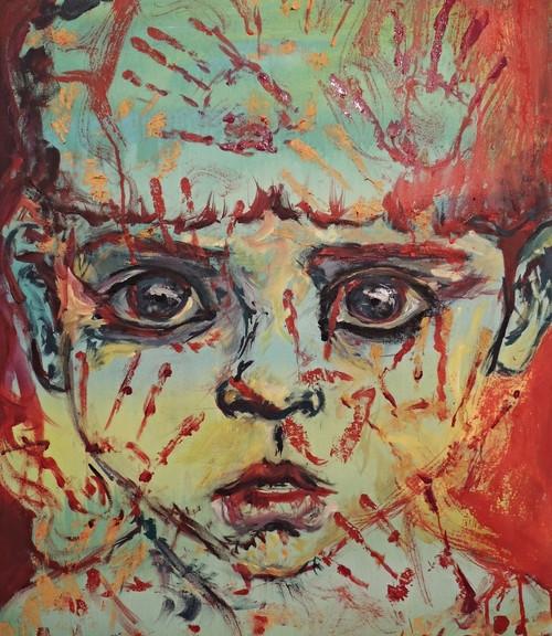 Holocausto, 2013, acrílico sobre lienzo, 70 x 60 cm