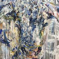 Bruce, de la serie animales, 2019, acrílico sobre lienzo, 130 x 90 cm