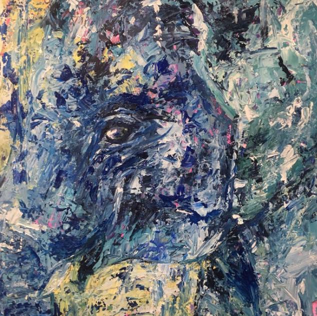 Diegui, de la serie animales, 2017, acrílico sobre lienzo,32 x 56 cm