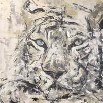 Charly the cat, de la serie animales, 2018, acrílico sobre lienzo, 82 x 56 cm