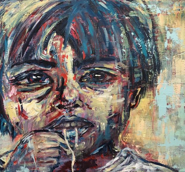 Fideo, 2016, acrílico sobre lienzo, 50 x 80 cm