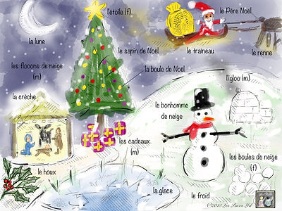 French Christmas vocabulary free printouts from Les Puces