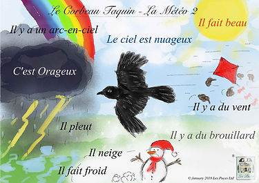 weather words in French, French vocabulary for the weather. Vocabulary sheet for French weather words, Les Puces weather vocabulary sheet in French