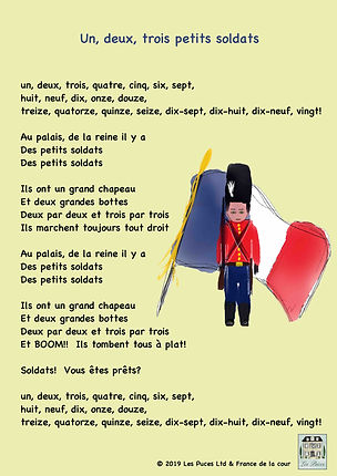 Les Puces French language learning method for kids from 3-11 years, counting in french, count up to 20 in french, petit soldat, little soldier french soing lyrics