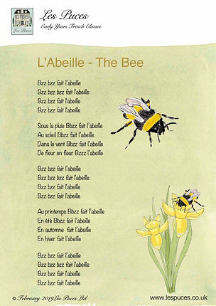 French Vocabulary lyrics Sheet for Spring from Les Puces french classes, the language learning method for kids 3-11 years thst gives them the boost for MFLS at school and beyond