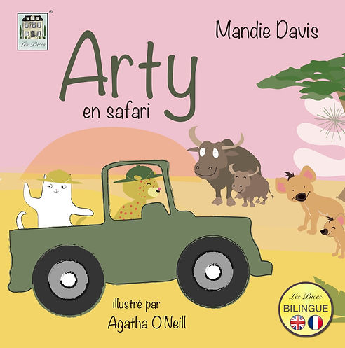 Arty on Safari bilingual book by www.lespuces.co.uk