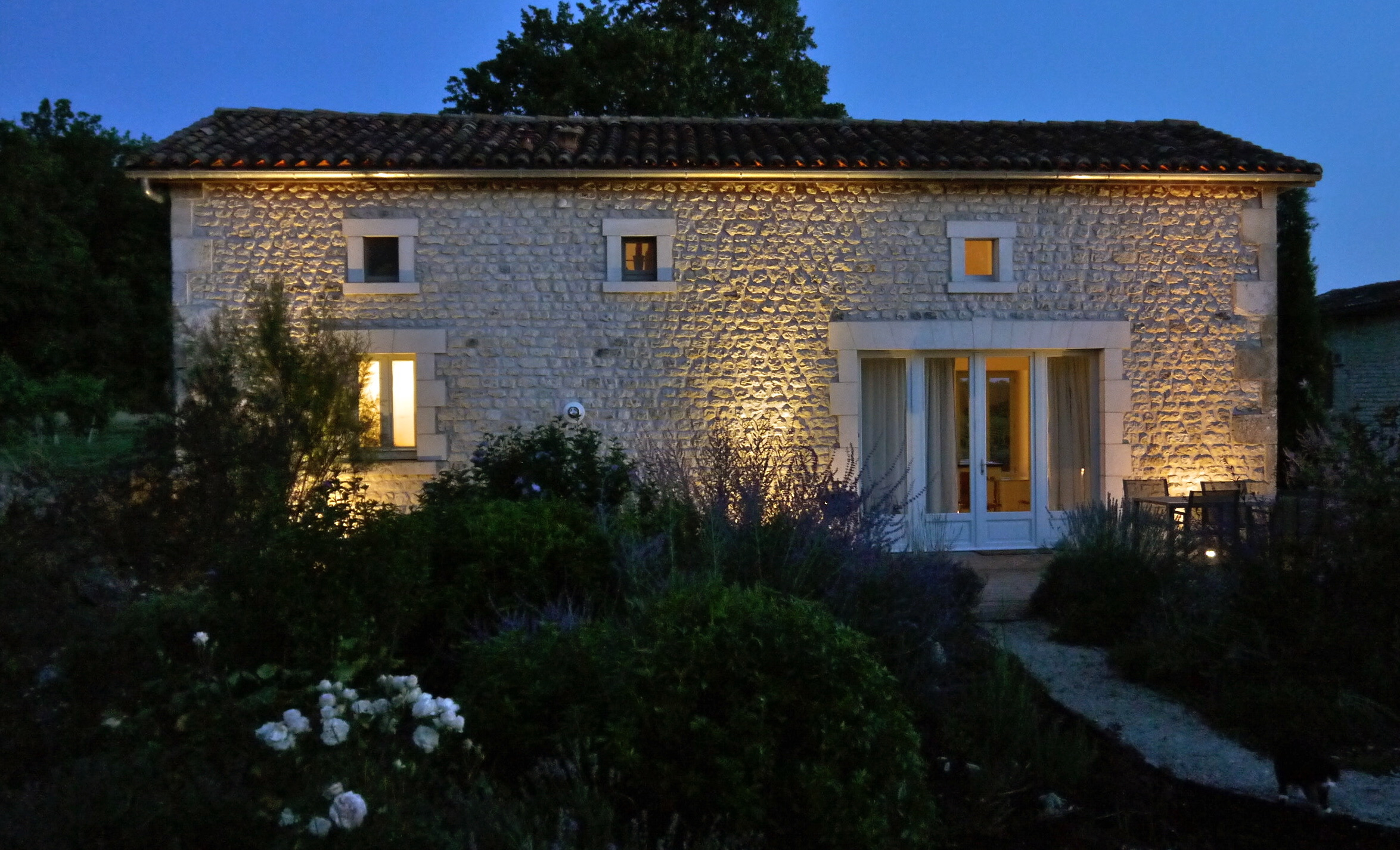 The Design Cottage in the evening