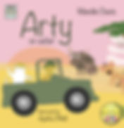 Arty on Safari English book cover from our bilingual flip it book range