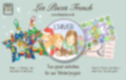 Les Puces early years French classes, winter, vocabulary, songs, games, for ages 3-11 KS1+2 travel, ingredients, clothing, travel, Christmas, Nativity, make it project, travel game, cooking game, nativity star decoraion.