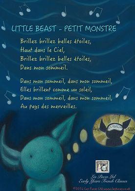 Little Beast - Petit Monstre Early Years French Classes Lyrics Sheet Frenship