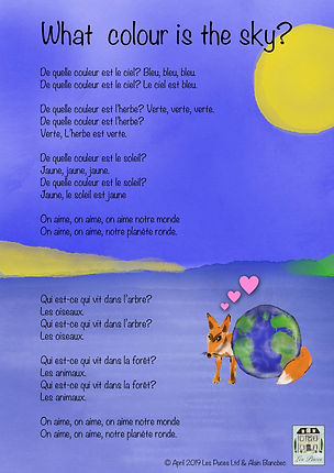 Les Puces French classes for children, kids, what colour is the sky half term,
