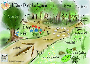 Countryside words in French, French vocabulary for the countryside, french words for the countryside, french summer vocabulary, Les Puces French summer vocabulary,