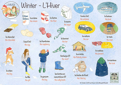 Les Puces Early Years French Classes, Winter, Hiver, French vocabulary fpr winter, Christmas, warm clothes, ingredients, travel to France, French lessons for kids, children 3-11 years, find a class near you.