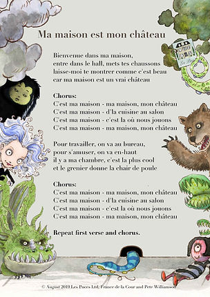 Les Puces song lyrics sheet for the song about Ma Maison rooms and furniture in French