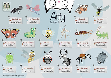 French Englisg Insect vocabulary sheet from Les Puces early years lfrench classes for children, kids, bilingual insects, classes, lessons, private tuition, bugs, beetles, flies, creepy crawlies