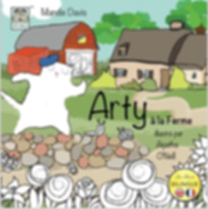 Front cover of the bilingual childrens book 'Arty on the Farm ' produced by Les Puce early years language school.  Kids education clubs, after school, nurseries