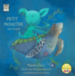 Bilingual book, French English under sea creatures, Flip it book from Les Puces,