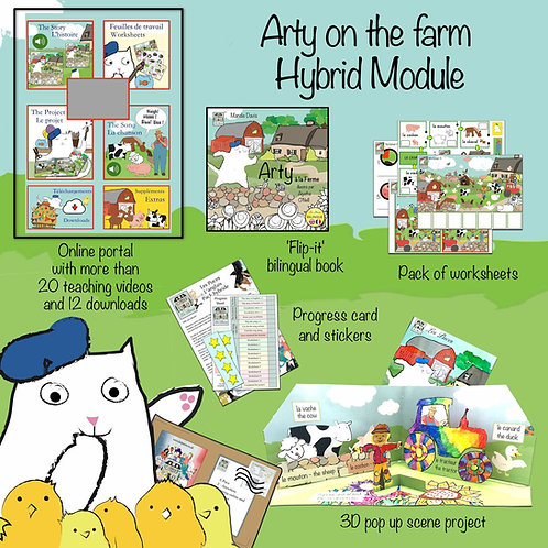 Arty on the farm - Single Hybrid module (1 Child - to learn French)