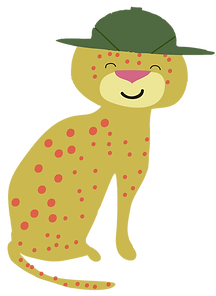 Spotty Leopard charater from Arty on Safari book by Les Puces